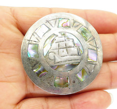 ETC MEXICO 925 Sterling Silver - Vintage Antique Abalone Brooch Pin - BP... - $34.14