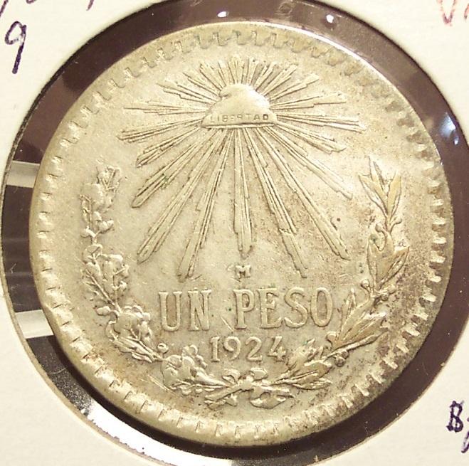 KM#455 1924 Silver Mexican Peso VF #019 image 3