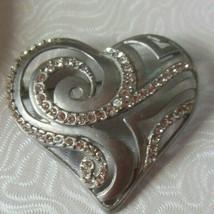 Chicos Silver-tone Rhinestone Heart Brooch AHA 2008 - $14.84