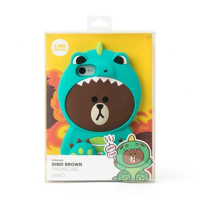 LINE Friends Dino BROWN Silicone Case iPhone 7, 7 Plus Cover Mobile Skin Wannabe