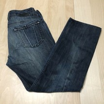 DIESEL INDUSTRY Mens Revick Dark Blue Jeans 31x34 Cow Leather Button Str... - $49.49