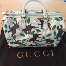 GUCCI Unicef Joy Boston Bag LIMITED Gg Elephant Canvas Handbag - $881.10