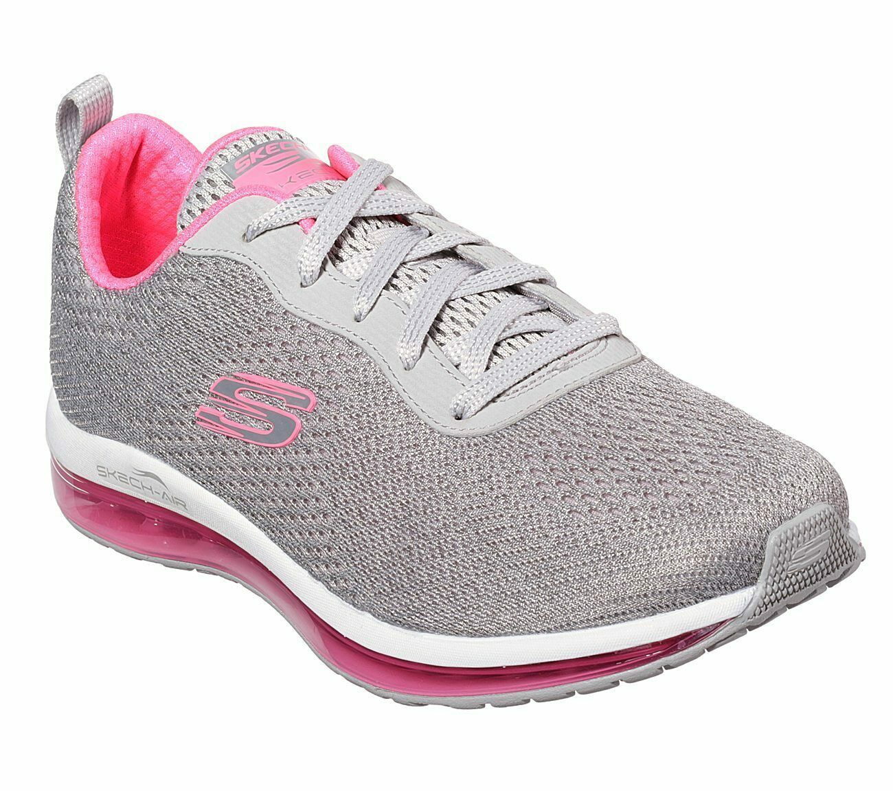 Skechers Shoes Women Gray Pink Memory Foam Sport Air Cushion Mesh Comfort 12644