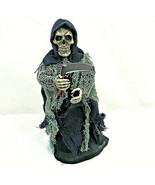 Grim Reaper Skull Skeleton Scythe Death Animated Figurine Halloween VIDEO - $29.69