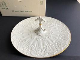 Lenox Ivory Sculpted Handled Chateau Server Tray, Gold Trim, NIB - $39.59