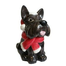 """Holiday Time Scottie Dog Cookie Jar 12"""" Christmas - $43.54"""