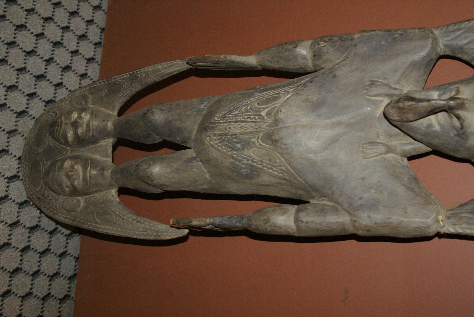 3 Ft + Authentic Suspension Hook Ancestor Figure Iatmul Tribe Sepik Hand carved-