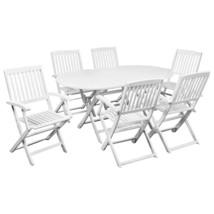 vidaXL Solid Acacia Wood 7 Piece Outdoor Dining Set White Garden Chair T... - $313.99