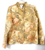 Coldwater Creek Tapestry Jacket Coat Light Green Floral S Acrylic Blend - $39.14