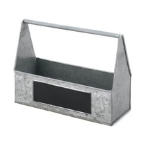GALVANIZED PICNIC CADDY Silverware Napkins Condiment Holder Kitchen Pati... - €20,37 EUR
