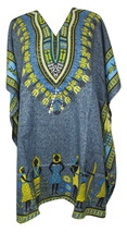 African Short Kaftan, Bohemian Beach Top, Hippie Caftan Free Size Dress - $8.59
