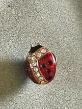 Estate Red & Black Enamel Goldtone LADYBUG Insect w Clear Rhinestone Acc... - $9.49