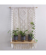 New Wall Hanging Rack Macrame Knitted Rope Woven Tassel Wall Hanging Handm - £63.40 GBP
