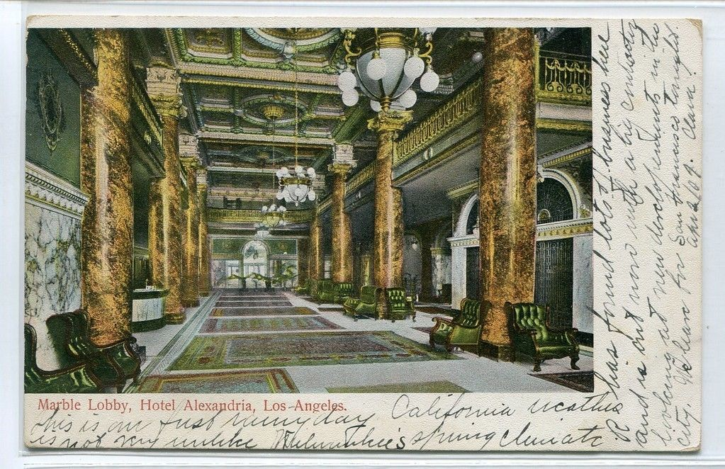 Primary image for Marble Lobby Interior Hotel Alexandria Los Angeles California 1907 postcard