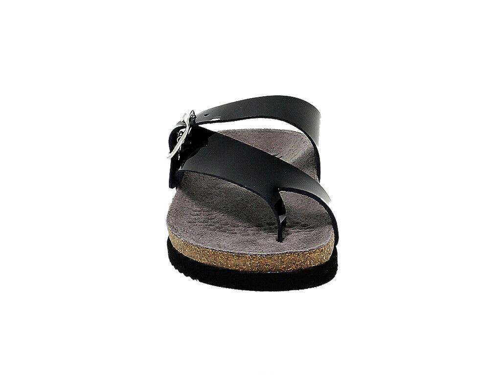 Sandales plates MEPHISTO HELEN N en cuir verni noir - Chaussures Femme
