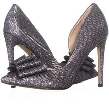 Betsey Johnson Prince Dorsay Bow Toe Pumps 882, Pewter, 6 US - $73.91
