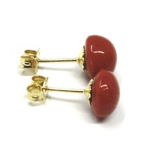 18K YELLOW GOLD HALF SPHERE RED CORAL BUTTON EARRINGS, 7.5 MM, 0.3 INCHES image 2