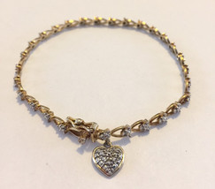 Sterling silver gold overlay vintage RSE signed heart charm tennis bracelet - $119.00