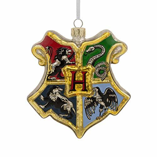 Primary image for Hallmark Christmas Ornaments, Harry Potter Hogwarts Crest Blown Glass Ornament