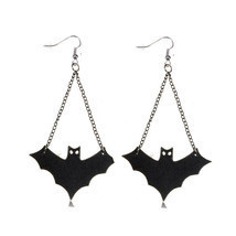 Punk Black Leather Bat Dangle Drop Pendant Earrings For Women - $7.85