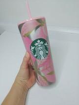 Starbucks Christmas Holiday 2020 Tumbler Pink green poinsettias flowers - $41.58