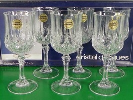 Vintage Cristal d'Arques LONGCHAMP Wine Goblet (s) SET OF 6 Lead Crystal - $46.48