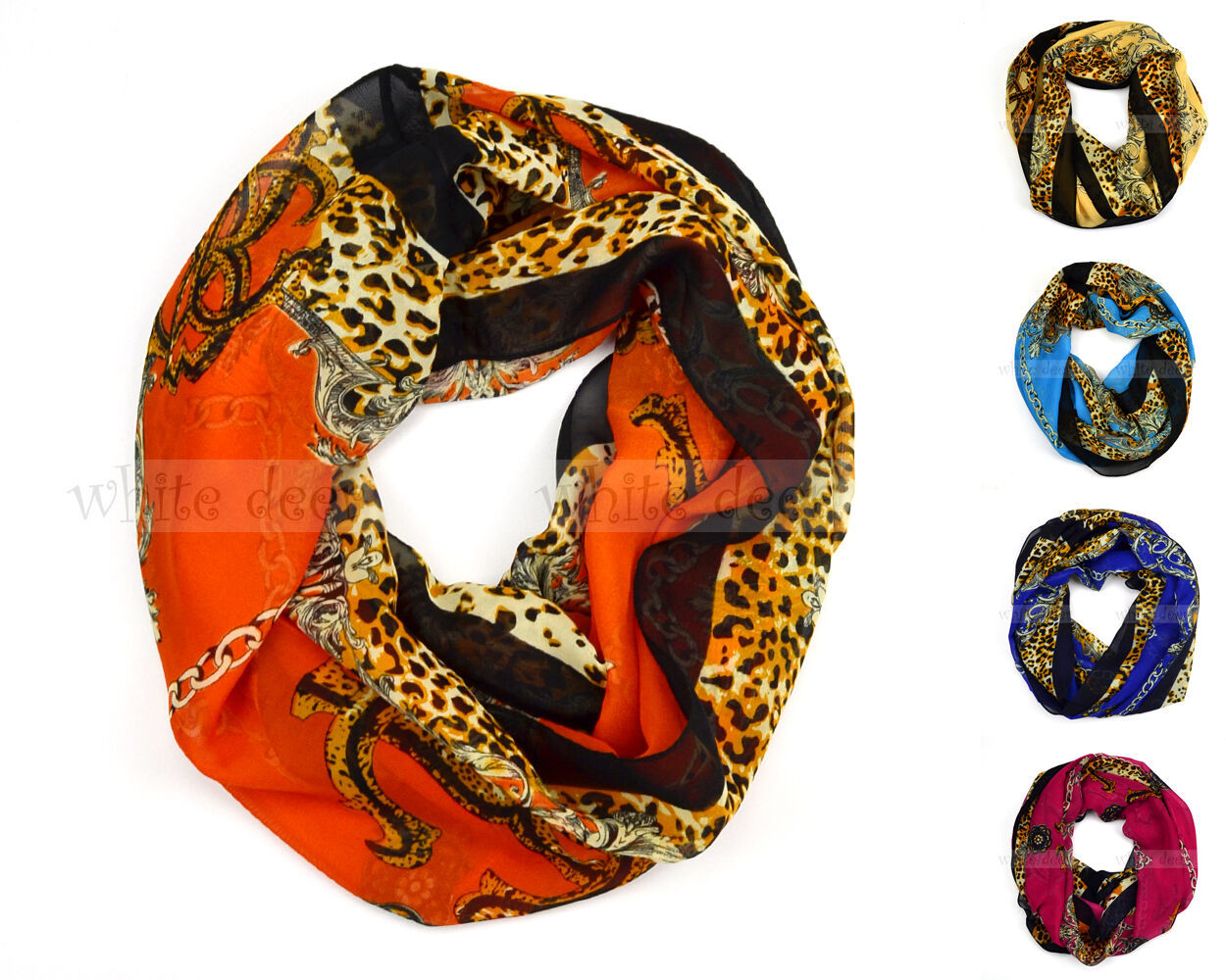 Primary image for Chain Floral Anchor Leopard Print Circle Loop Infinity Scarf Spring Summer
