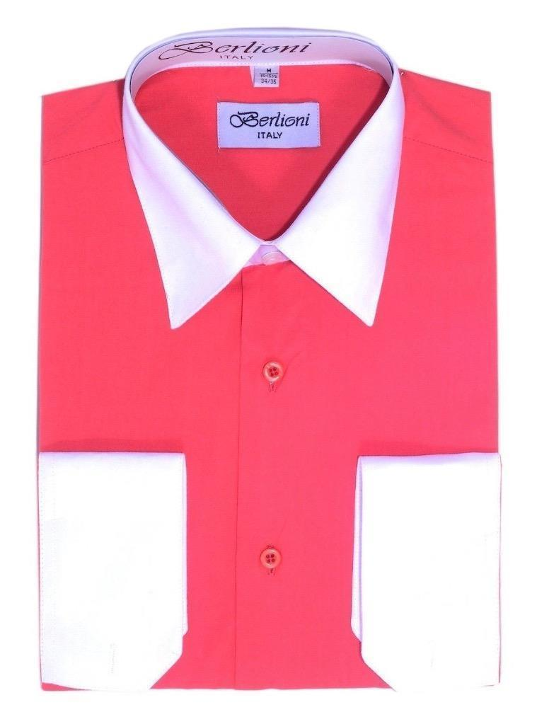 NEW BERLIONI ITALY MEN'S PREMIUM WHITE COLLAR & CUFFS TWO TONE DRESS SHIRT CORAL