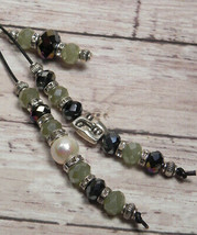 Pearl Crystal Beaded Handmade Purse Planner Charm Keychain Clip Green Br... - $19.39