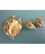 Vintage CROWN TRIFARI Gold Tone Leaf Design BROOCH and Pearl CLIP ON EAR... - $34.25