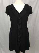 Apt 9 Black Ruffle Front Cap Sleeve Knee Length Little Black Dress L - $9.47