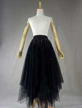 Black Tulle Layered Skirt High Low Tiered Tulle Skirt for Adults Layered Tutu  image 1