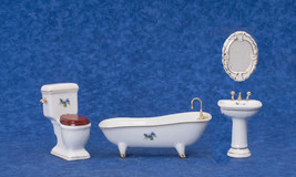 DOLLHOUSE MINIATURES 4 PC WHITE WITH FLOWERS PORCELAIN ATH SET #T5245 - $24.74