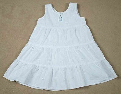OLD NAVY GIRLS XL 18-24M  DRESS WHITE EYELET BEACH PORTRAIT 100% COTTON 18M 24M image 1
