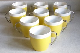 West Bend Thermo Serv Insulated Mugs Yellow Vintage Set of 9 Metal Handl... - $16.24