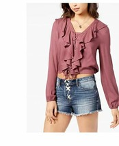 American Rag Junior's Lace-Up Ruffle Bright Mauve Top Size X-Large  - $13.27