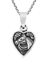 Lovely Jockey's Horse In Heart .925 Sterling Silver Pendant Necklace - $84.64