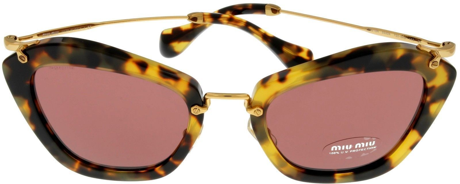 MIU MIU Sunglasses Women Havana Yellow Butterfly MU10NS 7SOOA0