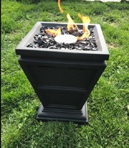 """Outdoor Small Table Top Or Floor Gas Column Fire Pit Faux Stone 15"""" H 10... - $104.15"""
