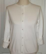 Lands End  Women's LS Supima Crew Cardigan Sweater White New - $39.99