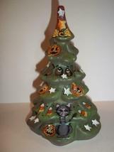 "Fenton Glass Halloween ""Boo"" Tree Figurine Black Cat & Bats Ltd Ed #3/11... - $183.82"