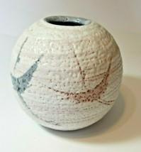 Oriental Original Clay Mauve White Art Pottery Birds Vase Shelac overlay - $23.38