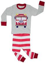 Elowel Little Boys Fire Truck 2 Piece Pajama Set 100% Cotton (Size (6|Gray) - $13.43
