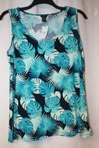 New Womens Plus Size 3X Teal Aqua Fern Tropical Vacation Soft Knit Tank Top - $16.44