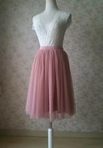 DUSTY PINK Tulle Midi Skirt Women High Waist Dusty Pink Tutu Midi Cocktail Skirt image 2