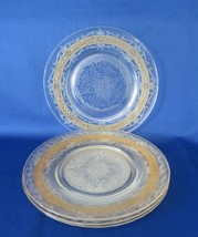 "MacBeth Evans, Luncheon Plates ""S"" Pattern / Stippled 4, Yellow Band, c. 1930's - $18.00"