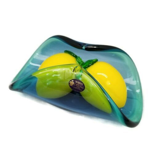 White Cristal Murano Teal Rolled Curved Glass Bowl Centerpiece Handmade 2 Lemons - $65.44