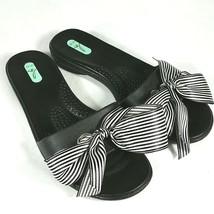 Oka-B Bee Okabashi Sandal Sz S 5.5 6.5 Women Slides Black Stripe Bow Mad... - $19.75