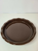 Longaberger Woven Traditions Pottery Heirloom Brown Stoneware Pie Baking Dish - $39.99