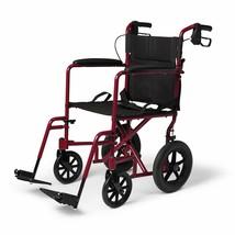 New Lightweight Transport Adult Folding Wheelchair with Handbrakes Red - $150.04
